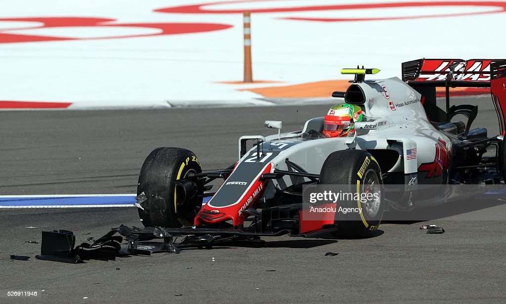 F1 cars, driven by N. Hulkenberg and E. Gutierrez, crash during the Formula One Grand Prix of Russia at Sochi Autodrom in Sochi, Russia on May 01, 2016.