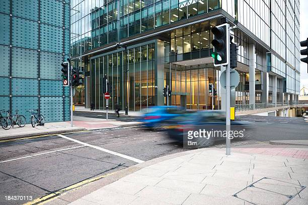 Cars Driving Through Canary Wharf Financial District of London, England