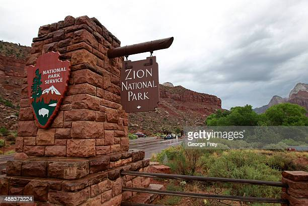 Cars enter Zion's National Park on September 15 2015 in Springdale Utah Four hikers died and three are missing after a flash flood yesterday that...