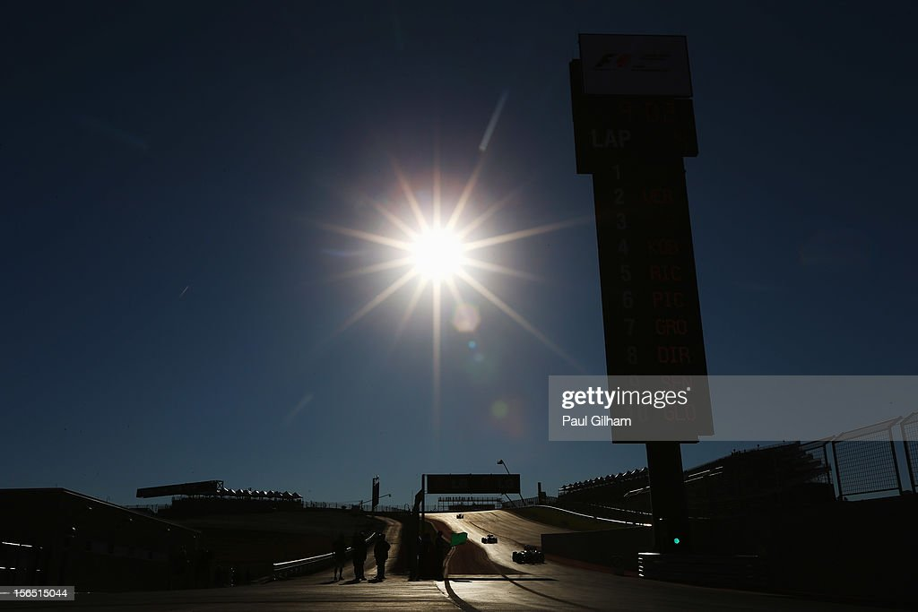Cars exit the pitlane to take part in the first practice session for the United States Formula One Grand Prix at the Circuit of the Americas on November 16, 2012 in Austin, Texas.