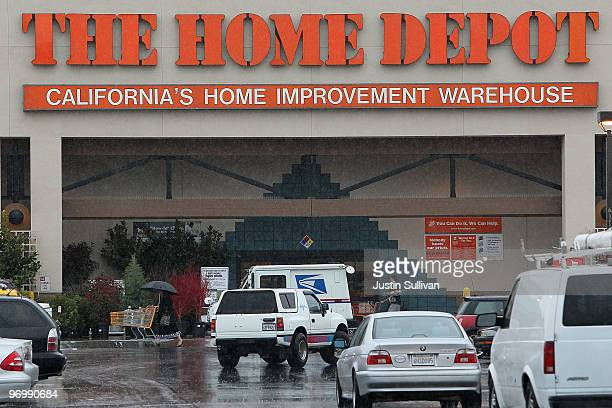 Cars fill the parking lot of a Home Depot store February 23 2010 in San Rafael California Home Depot reported better than expected fourth quarter...