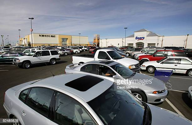 Cars fill the parking lot of the new Imperial Valley Mall a major project in the city of El Centro on March 27 2005 near Calexico California As...