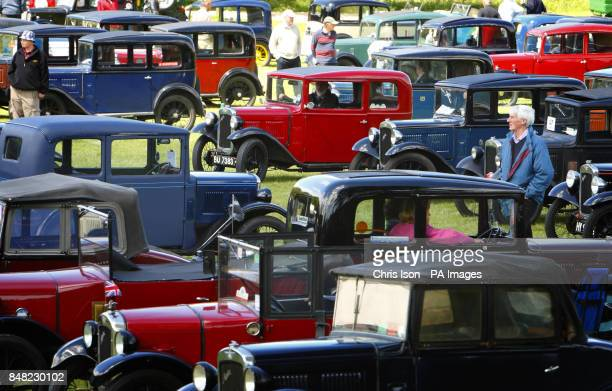 Cars gather at the 50th Austin Seven rally at the National Motor Museum in Beaulieu Hampshire