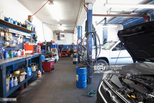 Cars in auto repair shop