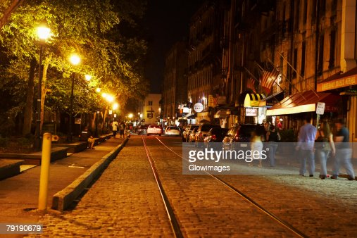 Cars in front of buildings, Savannah, Georgia, USA : Stock Photo