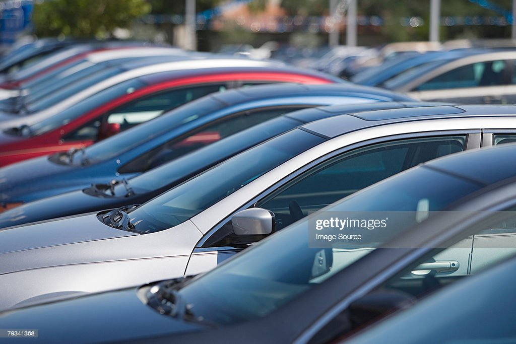 Cars in parking lot : Stock Photo