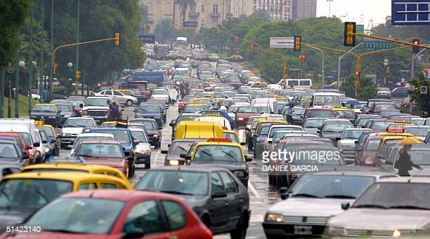 Cars jam the streets in Buenos Aires 13 December 2001 during a general strike called to protest a severe economic austerity plan implemented by...