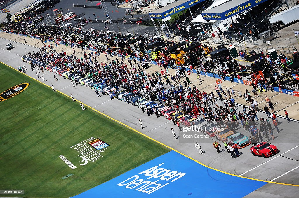 Cars line the grid prior to the NASCAR XFINITY Series Sparks Energy 300 at Talladega Superspeedway on April 30, 2016 in Talladega, Alabama.