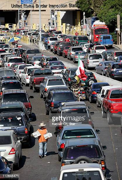 Cars line up in Tijuana Mexico to get through the border crossing into the United States