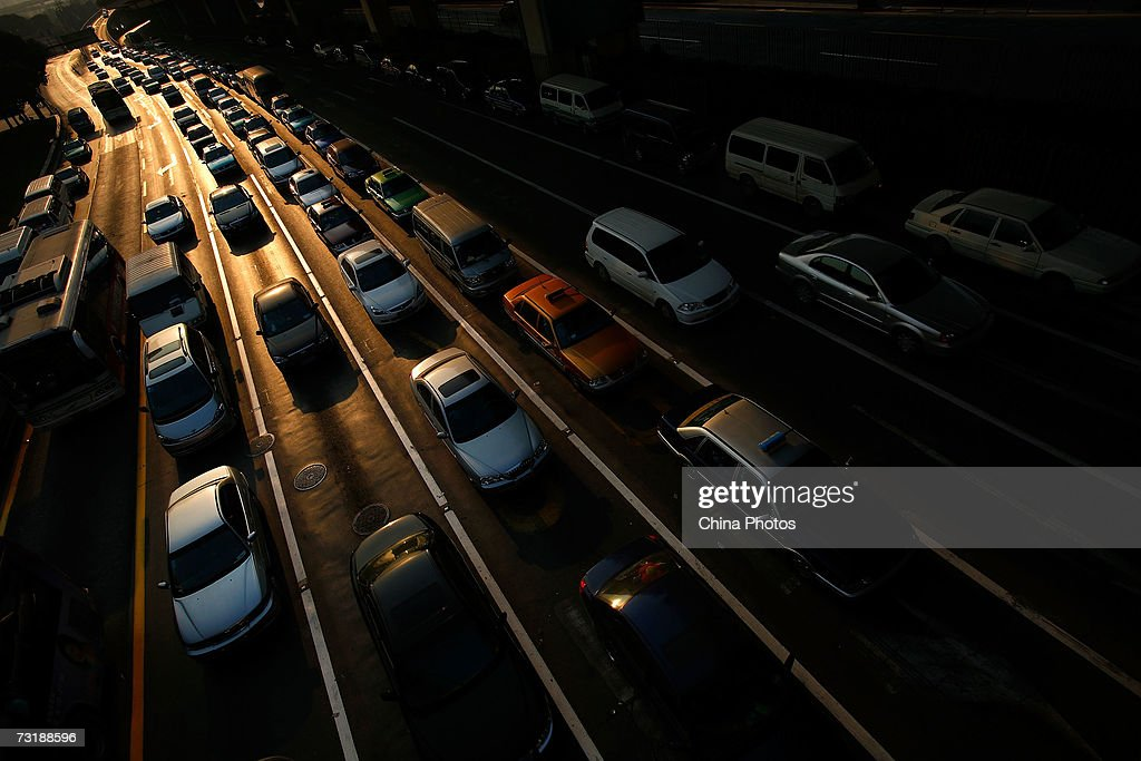 Cars line up on a main road during traffic jam February 2, 2007 in Shanghai, China. Automobile exhaust has become a major source of air pollution. China has failed, compared with other nations, in its efforts to protect the environment over the last three years. A new government report ranks the country 100th in terms of ecological modernization on a list of 118 countries, the same ranking it held in 2004, according to the Modernization Report 2007 released by the Chinese Academy of Science.