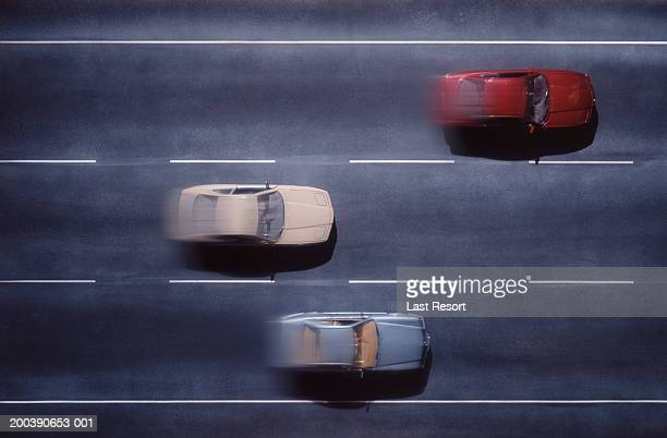 Cars moving, overhead view