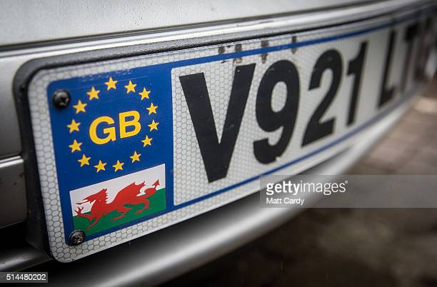 A car's number plate displays a GB Euro flag and a Welsh dragon flag in a car park in Aberdare on March 8 2016 in Rhondda Cynon Taf Wales The West...