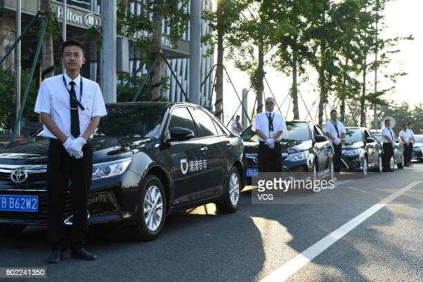 Cars of Didi Chuxing park outside Dalian International Conference Center during the Annual Meeting of the New Champions 2017 on June 27 2017 in...