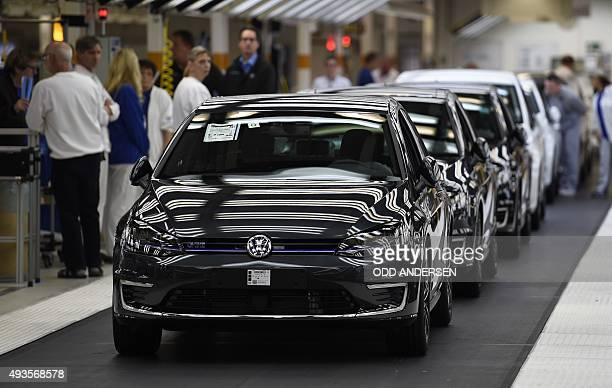 Cars of German car maker Volkswagen are pictured after a check at an assembly line of the VW plant in Wolfsburg central Germany on October 21 2015...