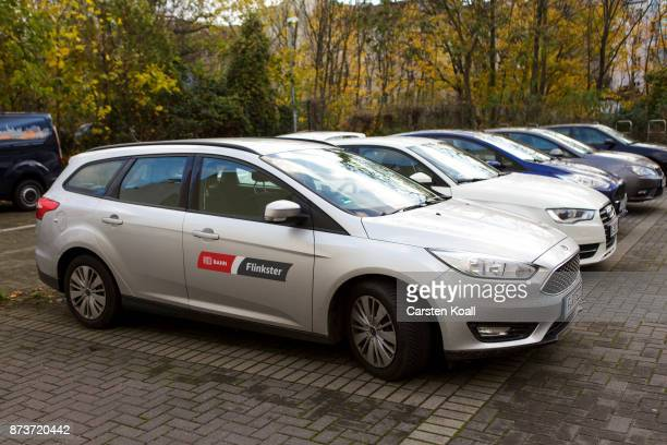 Cars of the car sharing agency Flinkster in collaboration with the DB Deutsche Bahn are parked at the pickup and return station on November 13 2017...