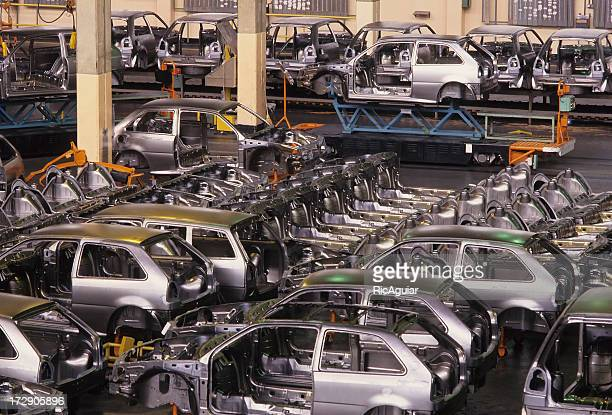 Cars on a car manufacture assembly line