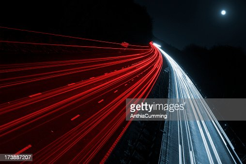 Cars on a Motorway From an Overpass Bridge