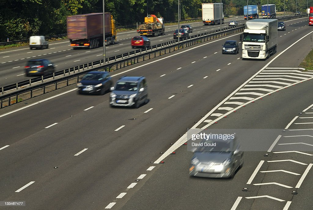 Cars on motorway blurred at speed