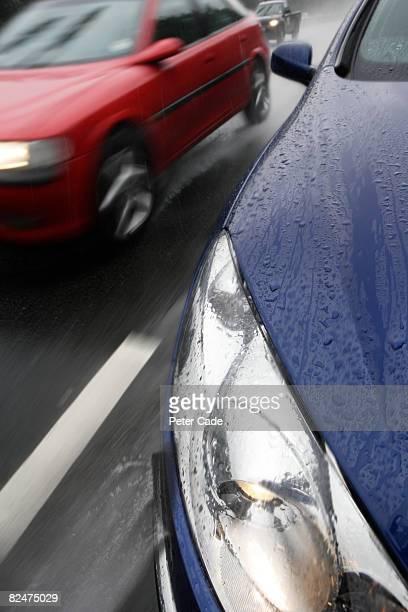 cars on motorway in th rain