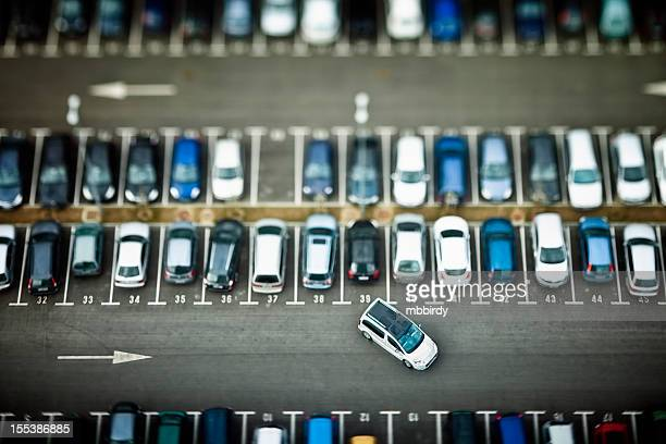 Cars on parking place from above
