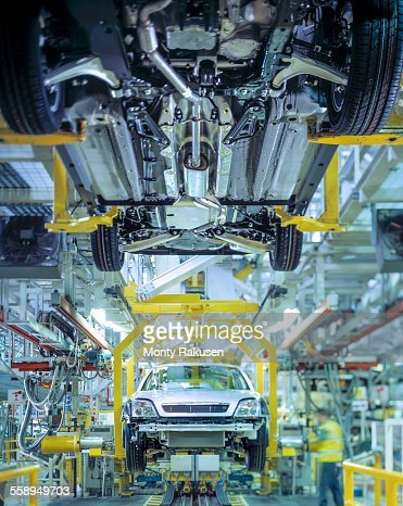 Cars on production line in car factory