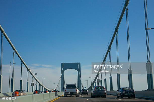 Cars on suspension bridge, Queens, NY