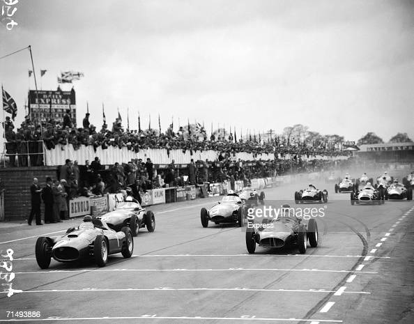 Cars on the grid at the start of the Daily Express International Trophy at the Silverstone circuit in Northamptonshire 7th May 1956