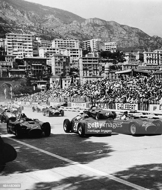 Cars on the starting grid Monaco 1950s A large crowd prepare to watch the start The buildings of Monte Carlo and the hillsides above provide a...