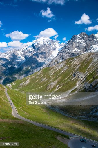 Cars on The Stelvio Pass in the Alps, Italy