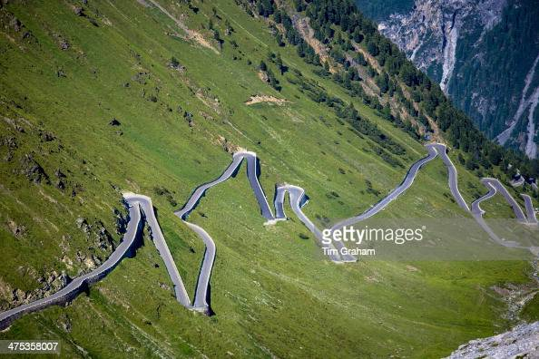 Cars on The Stelvio Pass Passo dello Stelvio Stilfser Joch on the route towards Bormio in the Eastern Alps in Northern Italy