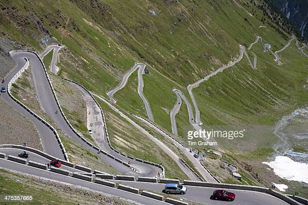 Cars on The Stelvio Pass Passo dello Stelvio Stilfser Joch on the route to Bormio in the Eastern Alps in Northern Italy