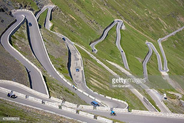 Cars on The Stelvio Pass Passo dello Stelvio Stilfser Joch on the route to Prato in the Eastern Alps in Northern Italy