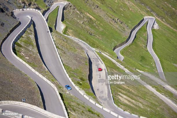 Cars on The Stelvio Pass Passo dello Stelvio Stilfser Joch on the route to Prato in the Eastern Alps in Northern Italy