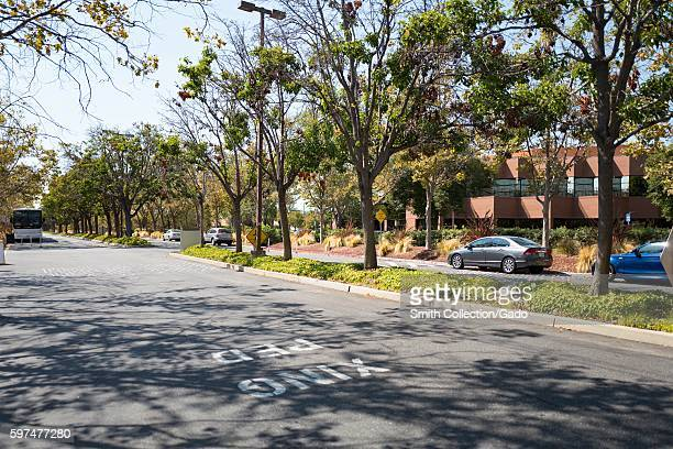 Cars parked along a treelined street at the headquarters of professional social networking company LinkedIn in the Silicon Valley town of Mountain...