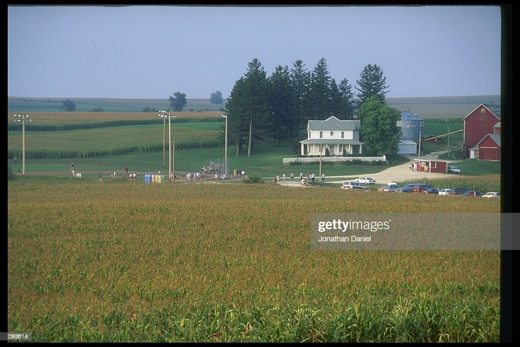 Cars parked at the baseball field created for the motion picture 'Field of Dreams' on August 25 1991 in Dyersville Iowa Rita and Al Ameskamp who with...