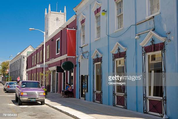 Cars parked at the roadside, Bay Street, Nassau, Bahamas