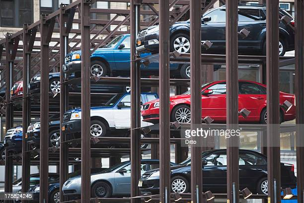 Cars parked in automatic parking lot
