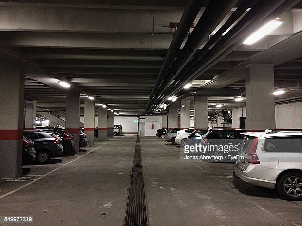 Cars Parked In Underground Parking Lot