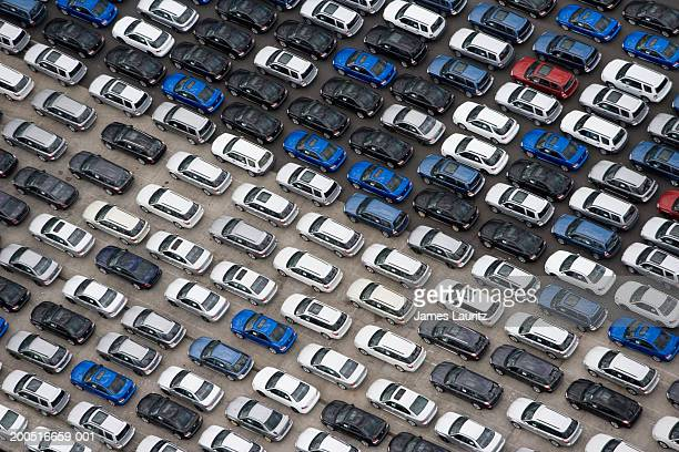 Cars parked on dockside, aerial view