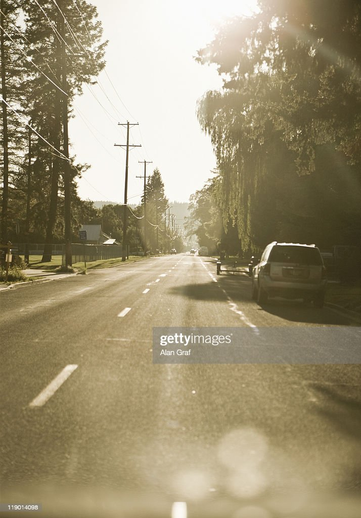 Cars parked on suburban street : Stock Photo