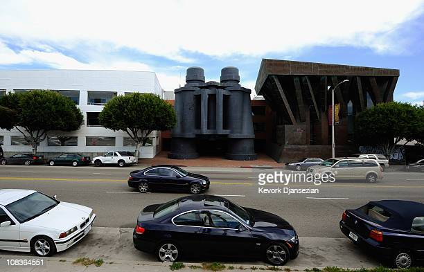 google office in los angeles. cars pass where google will open a new office in the binoculars building designed by famed los angeles