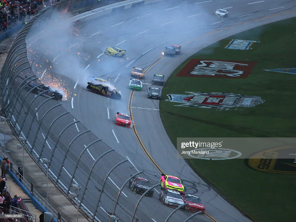 Cars pile up during a wreck on track during the NASCAR Nationwide Series Aaron's 312 at Talladega Superspeedway on May 4, 2013 in Talladega, Alabama.