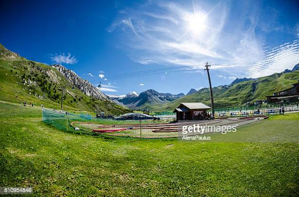 Cars playground for children by the Tignes Lake