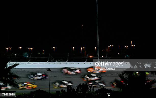 Cars race during the Budweiser Shootout at Daytona International Speedway on February 9 2008 in Daytona Florida