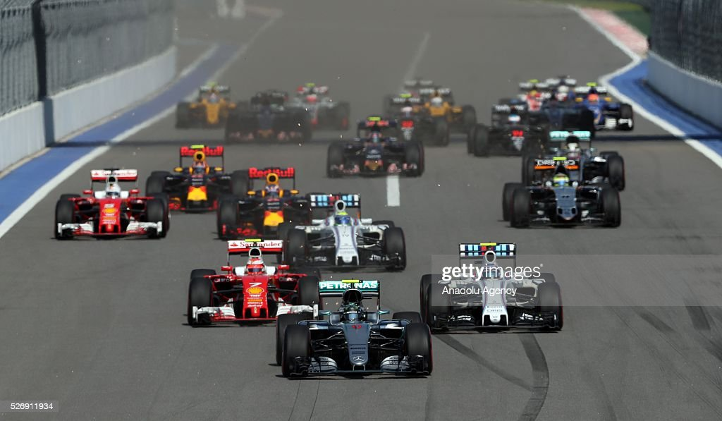 F1 cars race during the Formula One Grand Prix of Russia at Sochi Autodrom in Sochi, Russia on May 01, 2016.