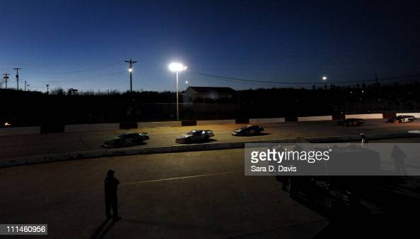 Cars race during the NASCAR KN Pro Series East at Greenville Pickens Speedway on April 2 2011 in Greenville South Carolina