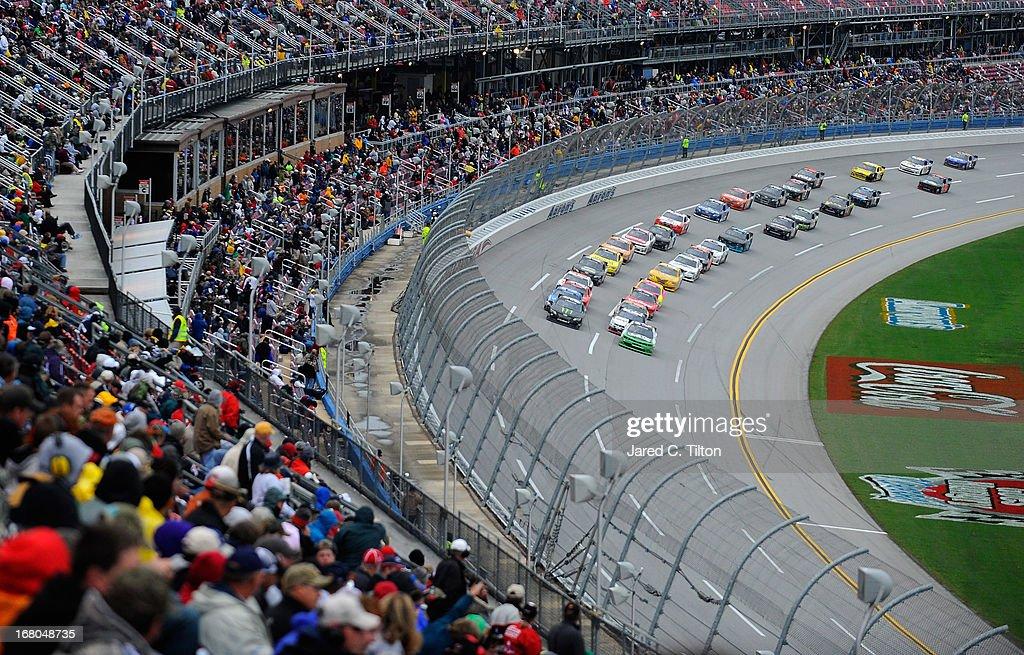 Cars race during the NASCAR Nationwide Series Aaron's 312 at Talladega Superspeedway on May 4 2013 in Talladega Alabama