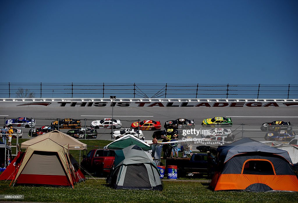 Cars race during the NASCAR Nationwide Series Aaron's 312 at Talladega Superspeedway on May 3, 2014 in Talladega, Alabama.