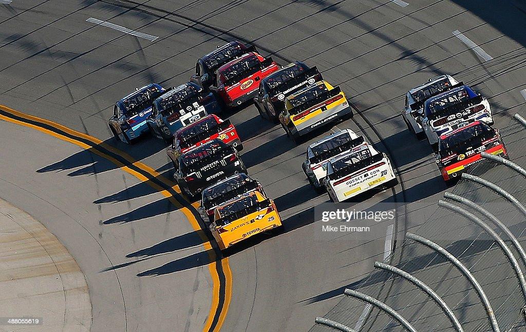 Cars race during the NASCAR Nationwide Series Aaron's 312 at Talladega Superspeedway on May 3, 2014 in Talladega, Alabama.