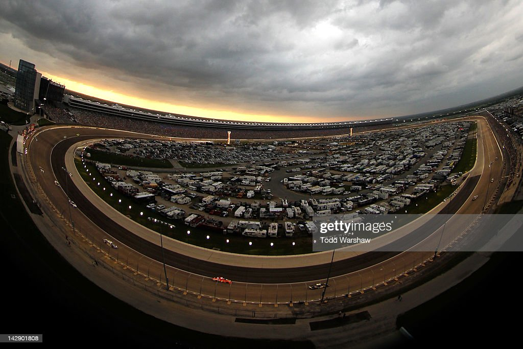 Cars race during the NASCAR Sprint Cup Series Samsung Mobile 500 at Texas Motor Speedway on April 14, 2012 in Fort Worth, Texas.